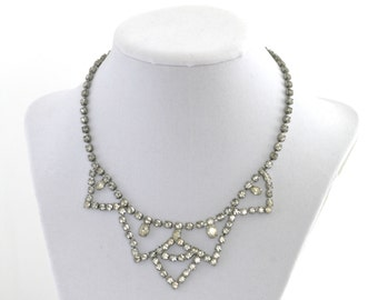 Amazing Ice Clear Silver Tone Rhinestone Choker Necklace // Vintage Jewelry