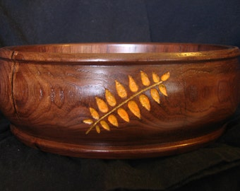 Hand turned black walnut bowl with leaf carvings hand carved lathe hand turned centerpiece