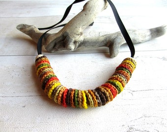 Long Autumnal Crochet Necklace, Autumn Colours, Earth Colours, Long Necklace, Statement Necklace, Gift for Her, Gift for Women