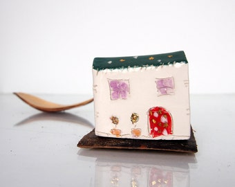 Miniature handmade pottery sculpture in green and gold, Unique home decor house, Vitez Art