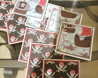 12 mini pirate theme note cards blank no envelopes 2x2