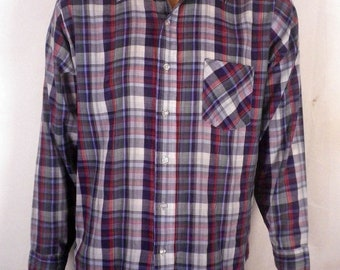 vtg 70s Washington Dee Cee Plaid Button Down Shirt long sleeve skater indie L