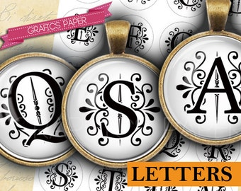 """Alphabet letters Initial Printable Digital Collage Sheet 1 inch circles, 25mm, 1.5"""", 1.25"""", 30mm, Images Printable pendant td420"""