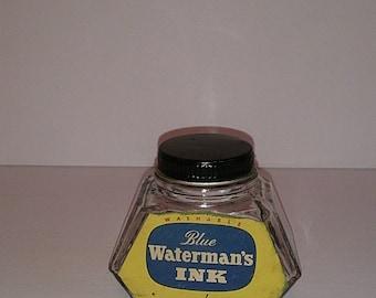 Waterman's Permanent Fountain Pen Ink Blue Anchor Hocking Bottle/Jar Retro