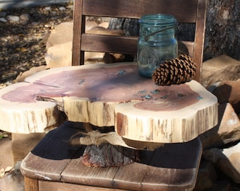 "Rustic Cake Stand, Tree slice + Stump, Inlaid gemstone, 17""x12""x1.75"" height 6"", Texas rustic woodsy wedding, party, event, dessert"