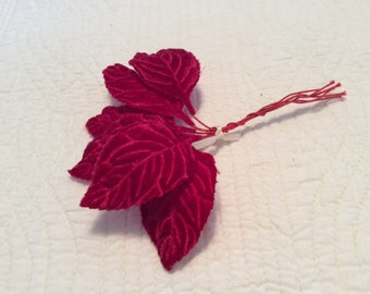 Vintage red embossed velvet leaves, six in a bunch