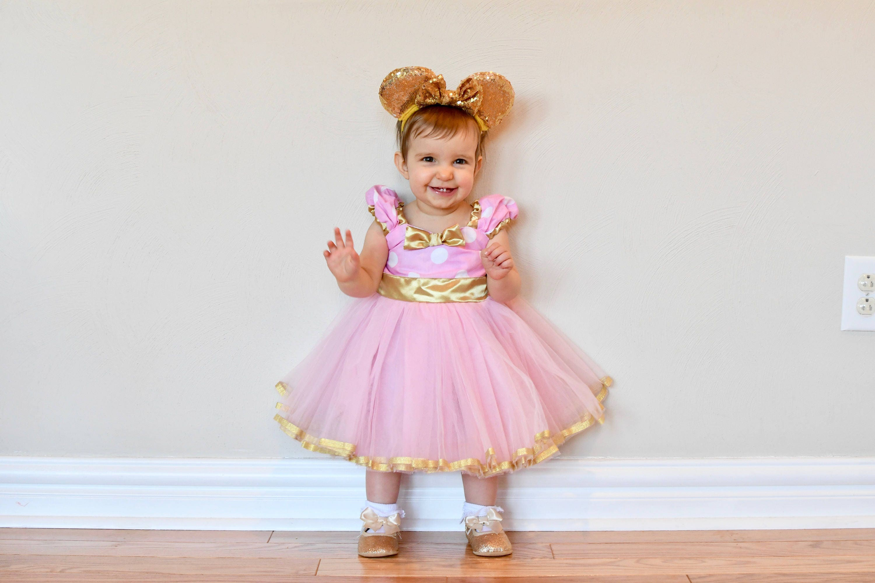 Pink and Gold first birthday dress pink and gold MINNIE
