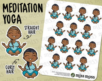 Yoga Meditation Relaxing Me Time Stickers, Brown Skin, Plus Size Curvy, African American - Erin Condren, Happy Planner, Filofax, Miss Moss