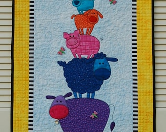"""Quilt for Sale, """"Barnyard Friends"""" is a bright colored appliqued wall quilt perfect for a child's room/ animal wall quilt/baby's room décor"""