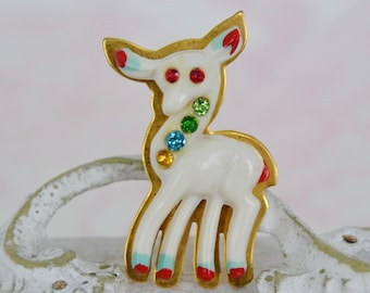 Vintage 1940s Celluloid and Brass Deer Brooch with Rhinestones and Paint