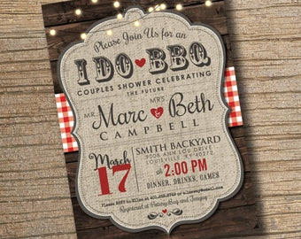 I Do BBQ Invitation Engagement Party Invite Couples Shower BBQ Wedding Shower BBQ Chalkboard Typography, Red Gingham, Any Event