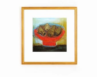 """modern still life, Red Gold Abstract Still life with fruit fine art size 12""""x12"""" contemporary painting oil canvas, small original oil art"""