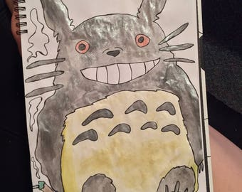 Stoned Totoro Watercolor