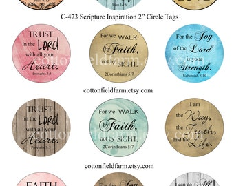 Scripture Inspiration 2 and 1 Inch Circles Digital Collage C-473  Cupcake Toppers, Tags, Scrapbooking, 2 Sheets