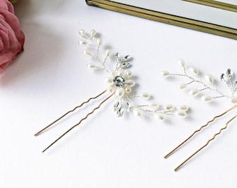 2x Hair pins: Hair jewelry wedding in gold
