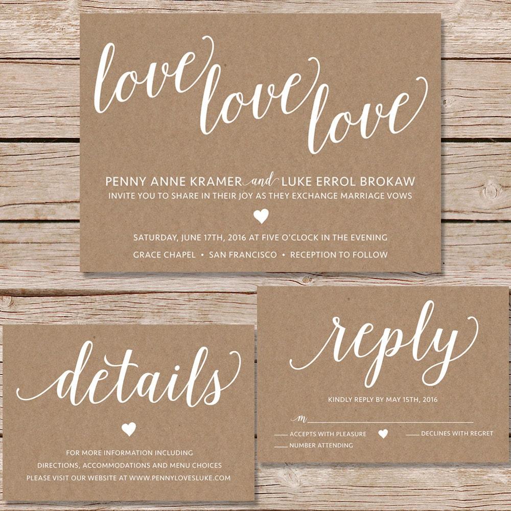 Moderne hochzeitseinladung kraft papier hochzeit einladen - Hochzeitseinladung text modern ...