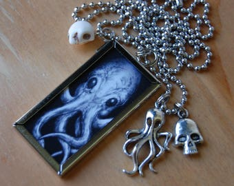 Cthulhu H.P. Lovecraft Pendant, Double Sided Necklace