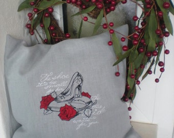 Pillowcase Cinderella fairy tale 100% linen embroidered grey red black the glass shoe