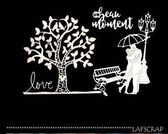 Love scrapbooking cuts bench lamp tree doves heart love cut paper embellishment die cut creation