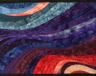 Art Quilt Sunset 56, Wall Quilt, Wall Hanging