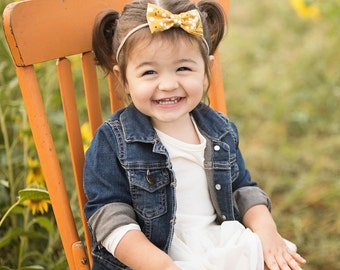 Mustard Bow Headband, Baby Bow Headband, Girls Bow Headband, Newborn Bow Headband - Baby Mustard Hair Bow
