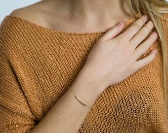 Curved Sterling Silver Tube Bar Bracelet-Gold Filled Curved Bar-Rose Gold Bar Bracelet-Layering Bracelet-Everyday Bracelet-Dainty Bracelet