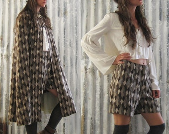 RESERVED FOR SARAH Vintage 60's Argyle Wool Cape and Shorts Combo / Two Piece 60's Outfit / Psych Mod Boho Women M