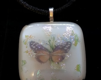Handcrafted butterfly and colorful flowers.  Fused Dichroic Glass Pendant with Necklace