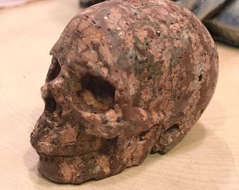 "Skull 2.1"" Leopard Skin Jasper *Carved Crystal* Realistic* Crystal Healing* Awesome*"