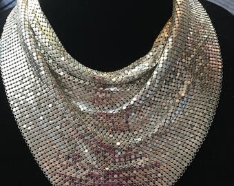 1970s Whiting & Davis Co Metal Mesh Scarf/Necklace