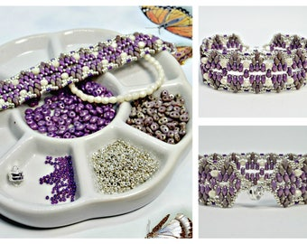 "Lilac Picasso SuperDuo Bead Pack DIY Jewelry,""Empyreal"" Bracelet Tutorial by VC Artisan Originals Sold Separately, DIY Bead Supply"