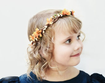 Orange and Ivory Flower Girl Crown, Flower Girl Headpiece, Flower Crown, Fall Wedding, Autumn, Hair Wreath, Floral Crown, Flower Circlet