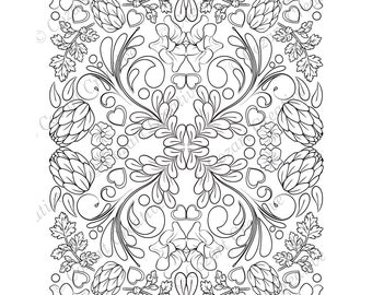 Adult coloring page, kaleidoscope, flower, butterfly, swirl, hops, petunia, leaf, floral. Spring Flowers. Instant download, printable.