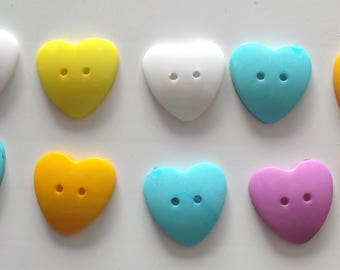 BUTTONS X 10 - shape hearts - various colors, size 25 mm