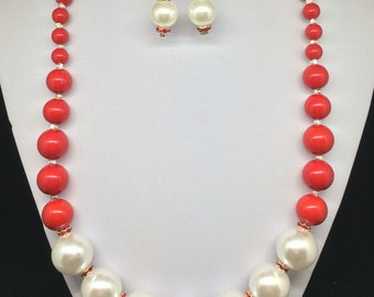 Red and White, Sterling Silver Necklace & Earrings Set
