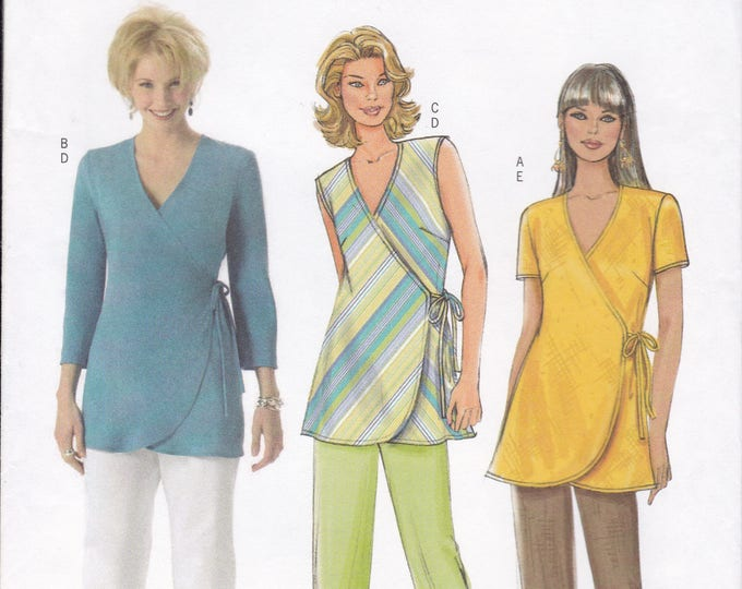 FREE US SHIP Butterick 4553 Sewing Pattern Elastic Waist Pants Capris Wrap Top  Size 8 10 12 14 Bust 31.5 32.5 34 36 Factory Folded