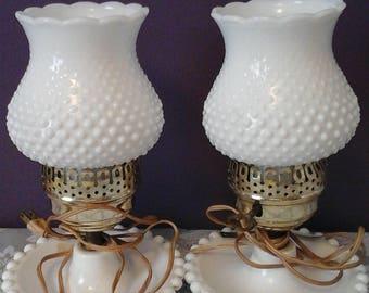 Set of Vintage Fenton Milk Glass Lamps