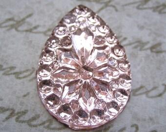 Vintage pink angelskin faceted stone glass flatback pear or teardrop shape 25 x 18 mm (1)