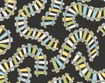 ALL ABOARD fabric cotton patchwork train tracks anthracite x1m