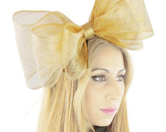 Cliverina 12 Inch Pale Gold Fascinator Hat for Weddings, Races, and Special Events With Headband