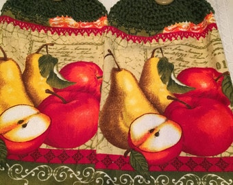 Apple and Pear Print Towels set of 2