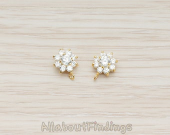ERG106-G // Glossy Gold Plated Clear Crystal Cubic Zirconia Flower Ear Post, 2 Pc