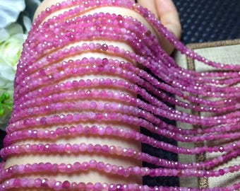 "15.5"" inch Pink Faceted Rondelle Tourmaline  Beads, Natural  Tourmaline  Beads, 3mm  DIY Jewelry"