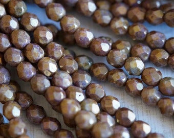 6mm Fire Polished Beads - Opaque Topaz Bronze Picasso - Faceted Rounds - Czech Glass Beads