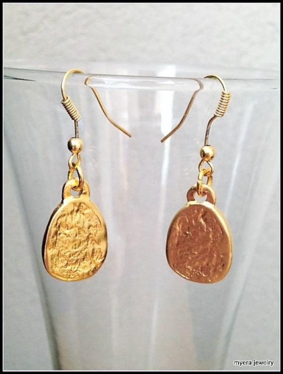 Golden Hammered Earrings, Gold Drop Earrings, Gold Dangle Earrings, Small Gold Earrings, Statement Earrings, Delicate Ear Jewelry