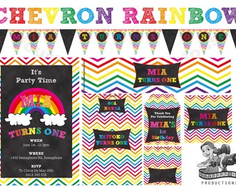 Chevron Rainbow Birthday Decorations