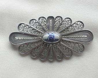 SALE Silver  Filigree DELFT Pottery Brooch