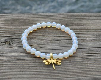 Stone of Moon and gold Dragonfly bracelet