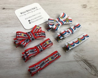 Support our troops baby hair clip bows, hair clippies, memorial day, veterans day, patriotic, 4th of July, baby toddler no slip hair clips