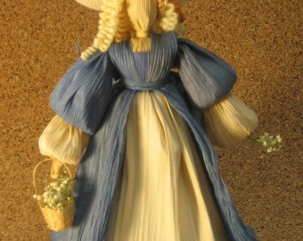 Corn shuck fiber doll, southern belle doll, art doll, collector's doll,
